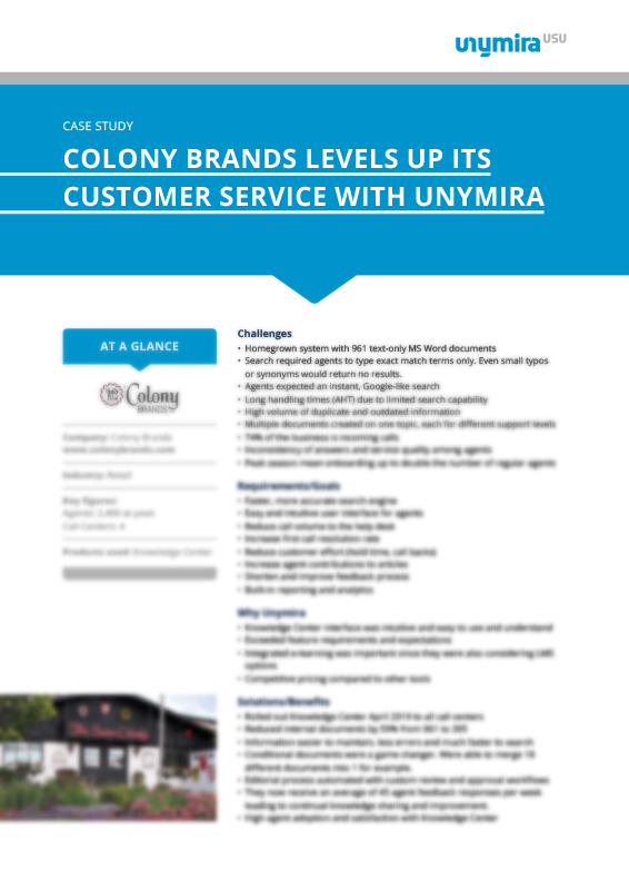 Colony Brands Levels Up Its Customer Service with Unymira